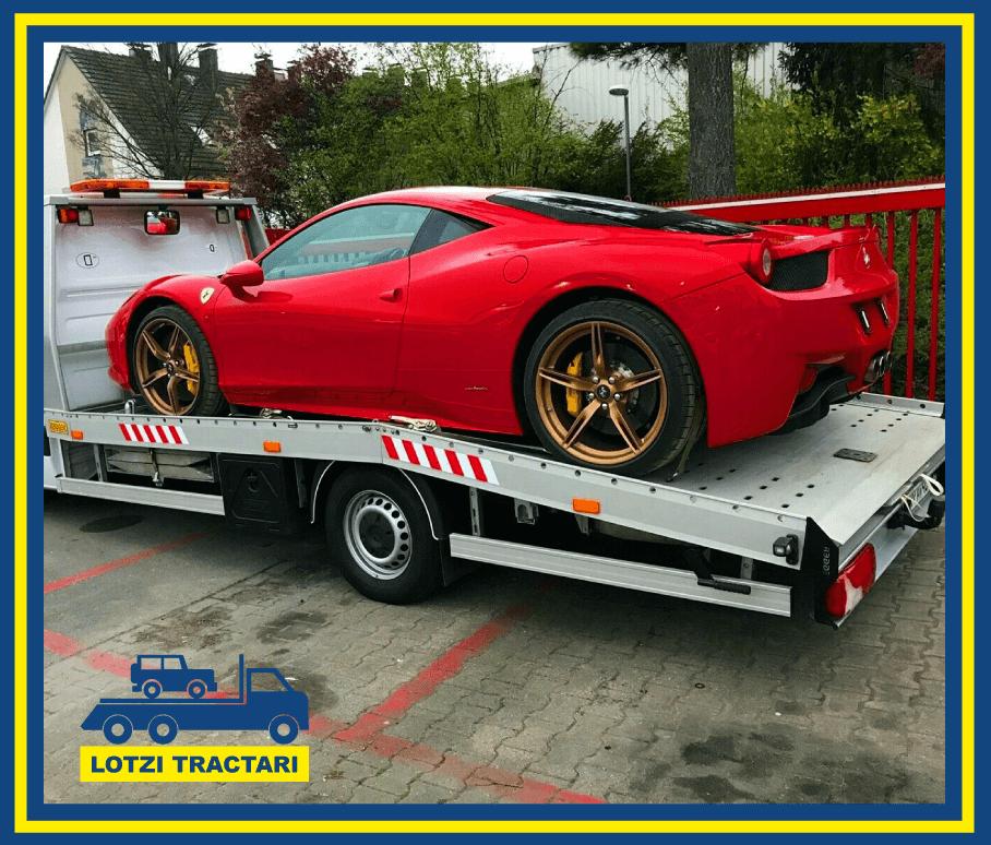 Ferrari remorcat de firma de tractari din Timisoara Lotzi Tractari Auto Timisoara